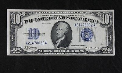 $10 1934 blue seal silver certificate A21478032A plain series FREE SHIPPING