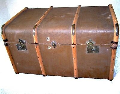 Antique XL Wood Canvas & Brass Steamer Trunk SuitcaseCoffee Table