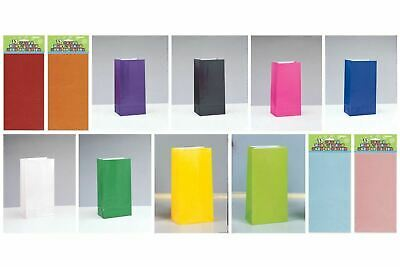 12 Solid Colour Paper Party Loot Bags Candy/Sweet/Treat Bags Choose Colour
