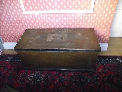 Characterful, Victorian, Pine Trunk/Blanket Box In Original Paint