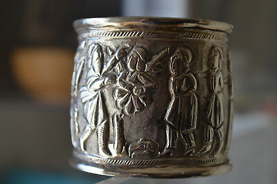 Antique Repousse Silver Napkin Ring Beheading Figural Story 45 grams
