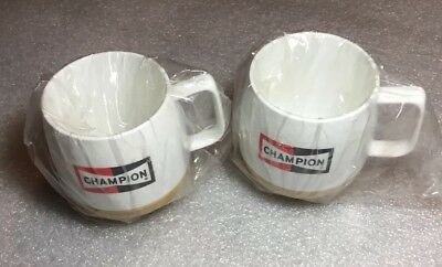 2 Vintage Champion Spark Plugs Mugs Coffee Cup NOS Thermos Vintage Made in USA