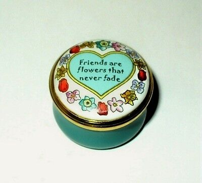 "Halcyon Days Enamel Box - ""friends Are Flowers..."" & Heart - Neiman Marcus - Mib"