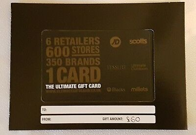 JD Sports Tessuti Scotts Ultimate Outdoors Blacks Millets Gift Card - £60.00
