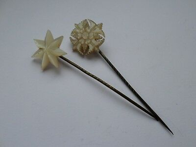 2 vintage or antique mother of pearl topped stick tie lapel pins