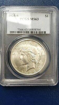 1925-S U.S. Peace Silver Dollar PCGS MS63 Better Date. Nice Strike