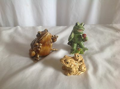 Assorted Lot Of Frog Figurines 3 piece
