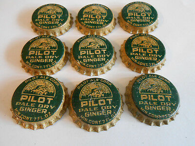 9 unused Pilot Pale Dry Ginger vintage cork bottle caps soda cola
