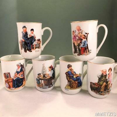 Vintage Norman Rockwell Museum Coffee Tea Mugs Set Of 6 ~ 1982 22 Kt Gold Trim