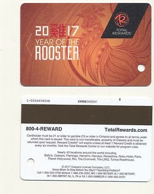 """Blank-""""YEAR OF THE ROOSTER"""" 2017--Caesars Company---Slot Card---SC-2"""