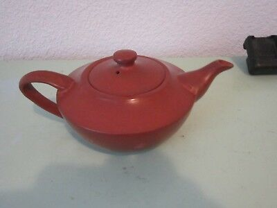 A Red Clay Pottery Teapot With Red Clay Strainer, Signed On The Back Side