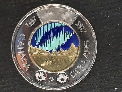 """""""unique"""" 1847-2017 """"colourized"""" """"glow In The Dark"""" Canada Two Dollar Toonie Coin"""