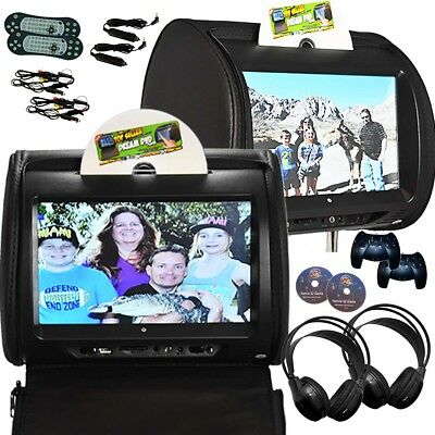 PAIR - Autotain HERO-Y 9 inch Touch Screen Headrest DVD Player Monitor BLACK