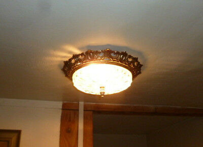 Lustre plafonnier / Antique french empire style ceiling light brass and glass