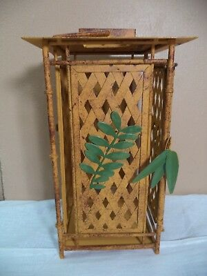 Oriental Metal Hanging Candle Lantern Vintage Yellow Wicker & Plant Theme AS IS