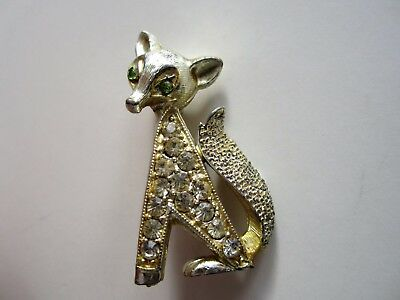 Fox Brooch Pin Vintage Rhinestone Green Eyes Warm Silver Tone Metal
