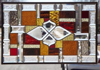 "••SWEET AMBER••Beveled Stained Glass Window Panel •25 3/4""x 16 3/4""(65 x42Cm)"
