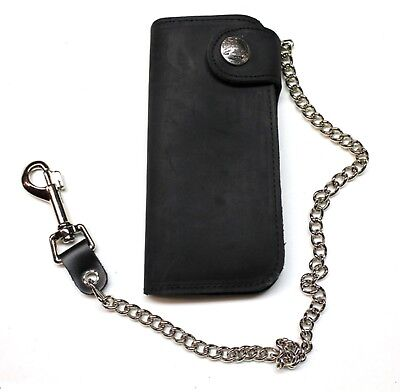 7 inch Deluxe Biker Wallet - With Side Snap- Black - USA MADE