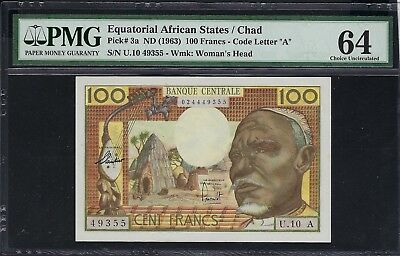 Equatorial African States / Chad ND (1963) P-3a PMG Choice UNC 64 100 Francs