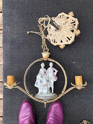 2 Antique Shabby Cast Iron Hanging Porcelain Pendant Figural Chandelier Lights