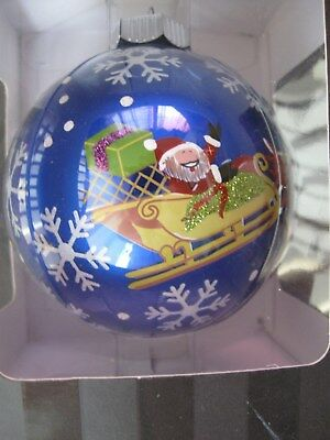 "Christopher Radko Celebrations Christmas Ornament 4""SANTA W/ REINDEER IN FLIGHT"