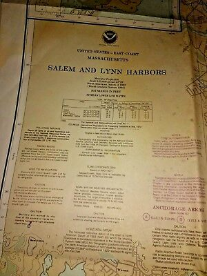 NOAA Chart #13275~Salem & Lynn Harbors Manchestor Harbor Mass.~12th Edition~1991