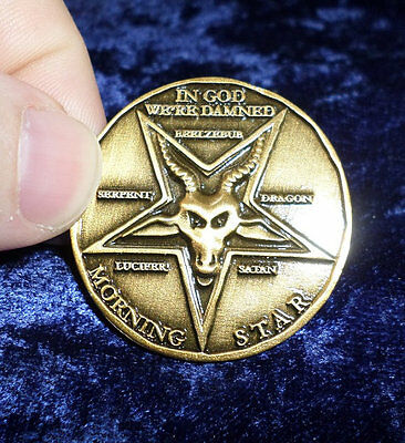 Lucifer Pentecostal Coin in Antique Gold finish Cosplay prop replica