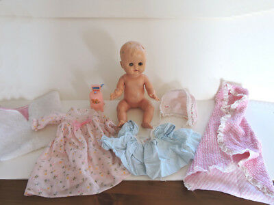 Vintage 1950 Baby Doll Drink and Wet with Clothing Lot and Doll House Washer