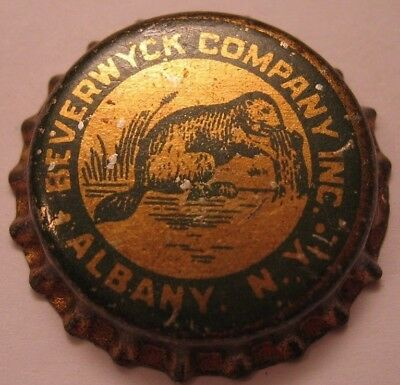 BEVERWYCK BEER BOTTLE CAP; PRE-PRO; ALBANY, NY; UNUSED SOLID CORK, beaver