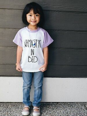 US Seller Yoga namaste in bed purple toddler girl top t-shirt street wear