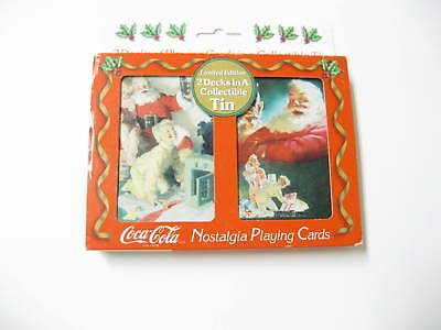 Haddon Sundblom's Coca-Cola Playing Cards in Christmas Tin - 2 Decks 1952-1964
