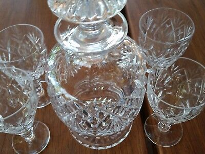 Vintage quality hand cut crystal decanter with 4 Webb glasses made in England
