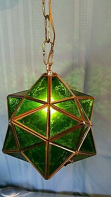 Green Stained Glass Moroccan Star Shape Hanging Lamp