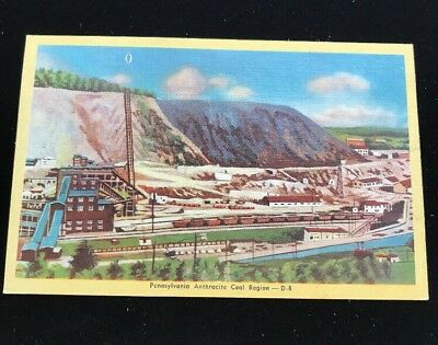 Pennsylvania Anthracite Coal Mine Vintage Linen Postcard Unmailed C1940s
