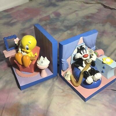 Looney Tunes Bookends RARE Tweety Sylvester Floral Collectible HTF Vintage 1999