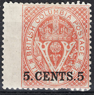 British Columbia 5c Surcharge, Scott 9, VF MH OG WING MARGIN, catalogue - $500