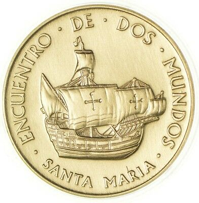 1492-1992 Spain's 500 Years Columbus Gold Plated Copper Medal *712