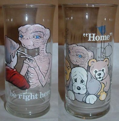 "Lot (2) 1982 E.T. Pizza Hut Glass ET Extra Terrestrial ""Home"" I'll Be Right Here"