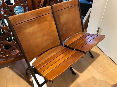 Vintage Wood Folding Theater Chairs / Metal Base