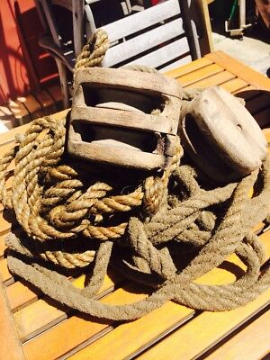Vintage Farm Ropes And Wooden Pulleys