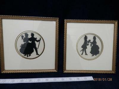 VINTAGE - Set of 2 - Petite Point Embroidery - Silhouette Figs  FRAMED pics