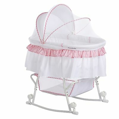 Dream on Me Lacy Portable 2-in-1 Bassinet Pink/White