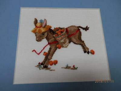 VINTAGE - KICKING DONKEY - BONNET - Hand Made  PETIT POINT PICTURE in MATTING