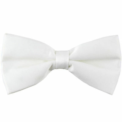 Children Kids Toddler Boys Girls Solid Color WHITE Bowtie Pre Tied Bow Tie Party
