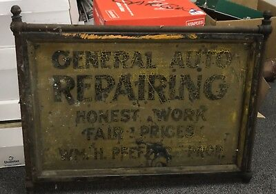 """Antique Very Early AUTO REPAIRING Double Sided Sign W/ Frame & Bracket 40"""" x 31"""""""