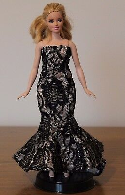 Clothes for Curvy Barbie Doll. Long Evening Dress for Dolls.