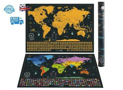 Scratch Map Deluxe World Travel Map Poster Kit World Edition Detailed Us States