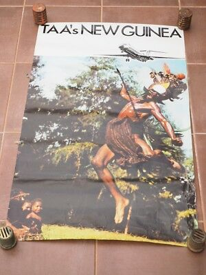 VERY RARE TAA AIRLINES AUSTRALIAN TO NEW GUINEA ADVERT POSTER '97X59cm (I443)