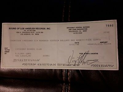 Sound of Los Angeles Records Inc Virgil Roberts signed cheque 1990 SOLAR music 2