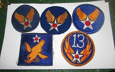 Lot Of 5 Ww2 Us Army Air Force Shoulder Patches